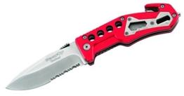 BlackFox Einhand-Rettungsmesser, Stahl 440, Teilsägezahnung,, Schlagdorn, Gurtschneider, rote Aluminium-Griffschalen, 258712 -
