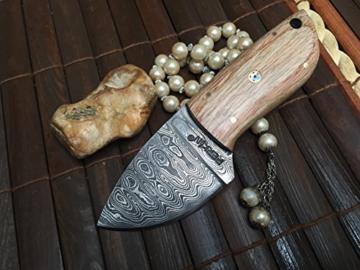 Custom Damast Messer Jagdmesser Mit Lederscheide - Kürschnermesser -