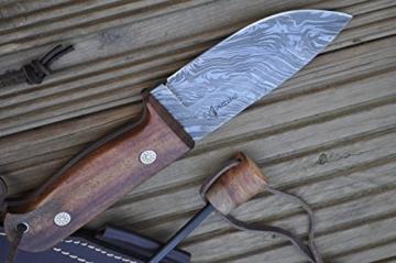 Damast Jagdmesser mit Scheide und Feuerstahl -