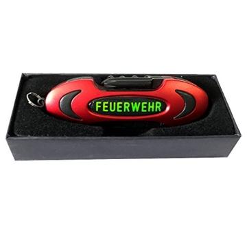 Feuerwehr Taschenmesser 7-Teilig mit Emblem, rot mit schwarzen Werkzeugen, Feuerwehrdruck neongelb -