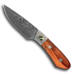 Jagdmesser Messer - Klinge (19,6 cm) aus 67 Lagen Damaszener Damast Stahl - Outdoormesser Freizeitmesser Einhandmesser (Sammlerstück) mit Edelholz und Perlmutt Griff EinLagen -