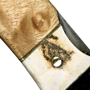 Messer Jagdmesser - Klinge (18,3 cm) aus 67 Lagen Damaszener Damast Stahl - Taschenmesser Einhandmesser (Sammlerstück) - Hirschhorn und Edelholz EinLagen -
