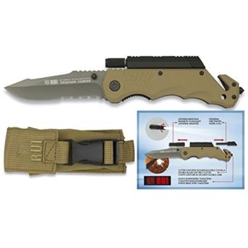 RUI Messer Rettungsmesser mit Taschenlampe + Feuerstarter + Nylonetui 19540 -