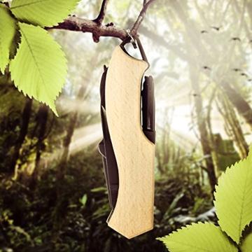 BERGKVIST Multitool im Schweizer Taschenmesser Stil aus Holz mit 11 Funktionen mini klein mit Klinge, Säge, Schere und mehr in schwarz perfekt als Geschenk und Multifunktionswerkzeug -