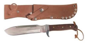 BW Fallschirmspringermesser, Holzgriff, Lederscheide, Länge: 27,5 cm, Klinge: 16 cm -