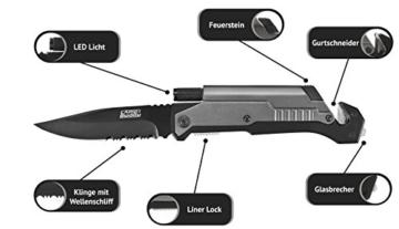 CampBuddy 5-in-1 Survival Messer + Gurtschneider + Glasbrecher + LED + Feuerstein -