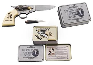 Legends of the West: DEKO Coltmesser und kleines Patronenmesser (Klappmesser) Wyatt Earp in nostalgischer Metallbox -