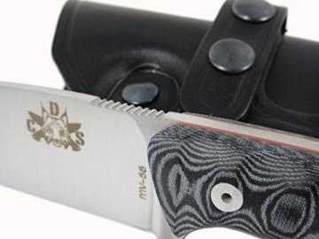 Mod.AXARQUIABLACK - Premium Qualität - professionell Überlebensmesser, Gürtelmesser, Outdoor/Survival Messer, Jagdmesser, Stahl MOVA-58, Lederscheide + Feuerstahl. Entworfen und Hergestellt in Spanien. -