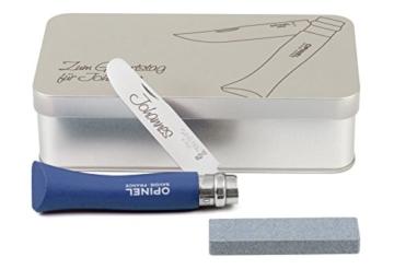 Opinel Kinder-Taschenmesser blau Geschenkdose inkl. Schleifstein und Wunschgravur auf Klinge + Dose -