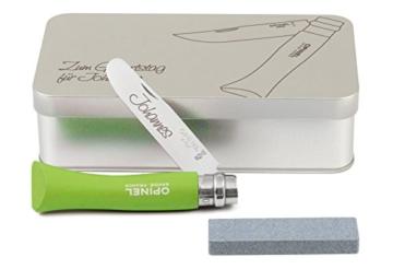 Opinel Kinder-Taschenmesser grün Geschenkdose inkl. Schleifstein und Wunschgravur auf Klinge + Dose -