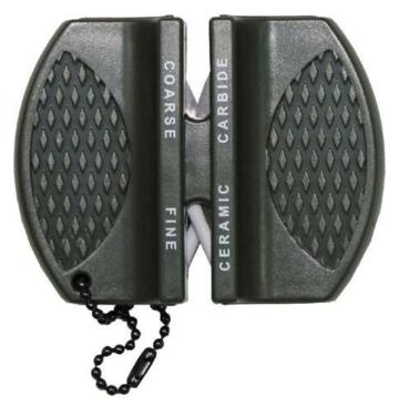 SET: Einhandmesser DA 35 Schwarz G10 Griff Gürtelclip + G8DS® Messerschärfer -